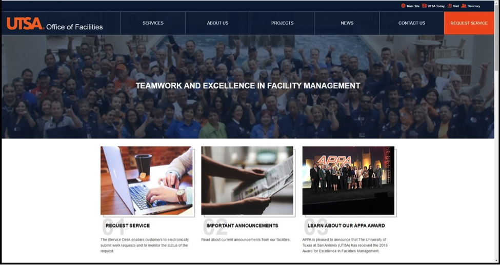 Facilities new website – home page title=
